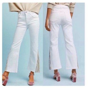 Anthropologie Pilcro Sequin White Denim Jeans